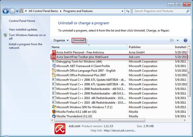 Uninstalling Programs - Remove Ask Toolbar