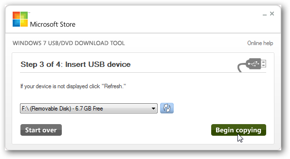 Creating Bootable USB Drive Using Windows USB/DVD Download Tool