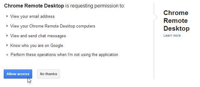 Make sure to 'Allow access' to the requested permissions