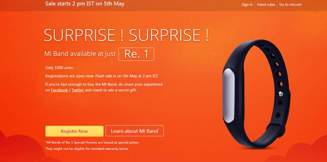 Mi Band for just Rs.1 (99% OFF)