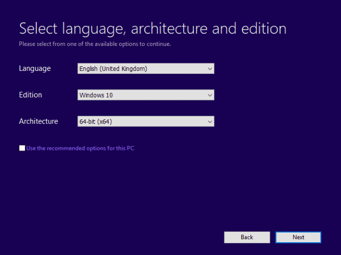 Select Language, Edition, and Architecture