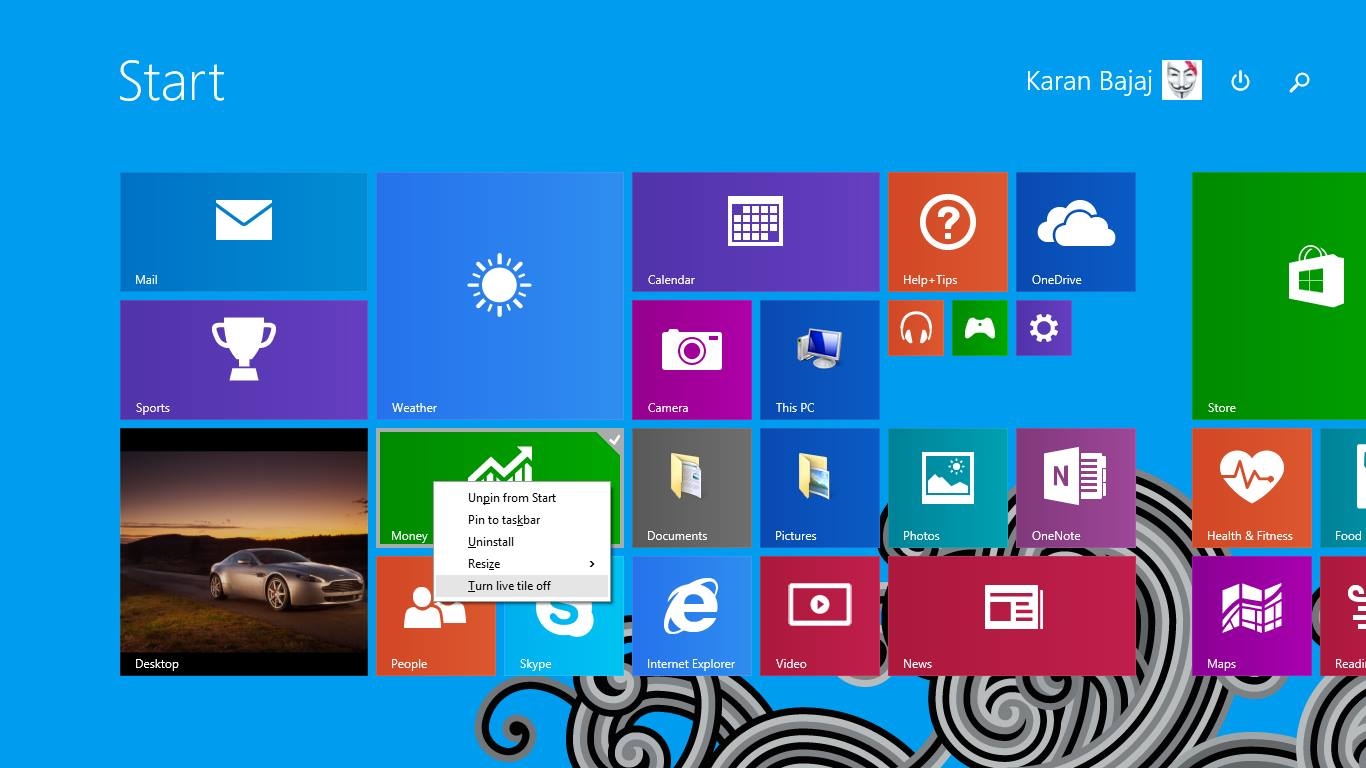 Disable or Enable Live Tiles