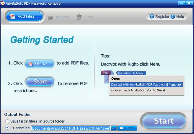 How to remove security for pdf files