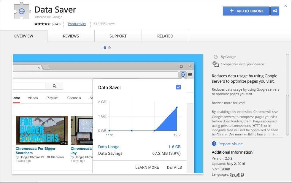 Chrome's Data Saver Extension