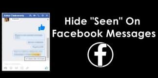"Hide ""Seen"" Feature On Facebook Chat/Messages"