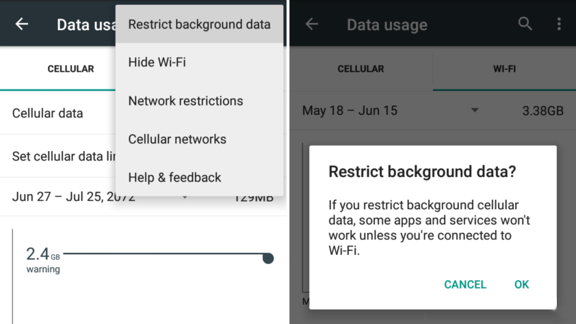 Restrict Background Data Usage