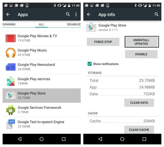 Uninstalling The Updates Of Google Play Services