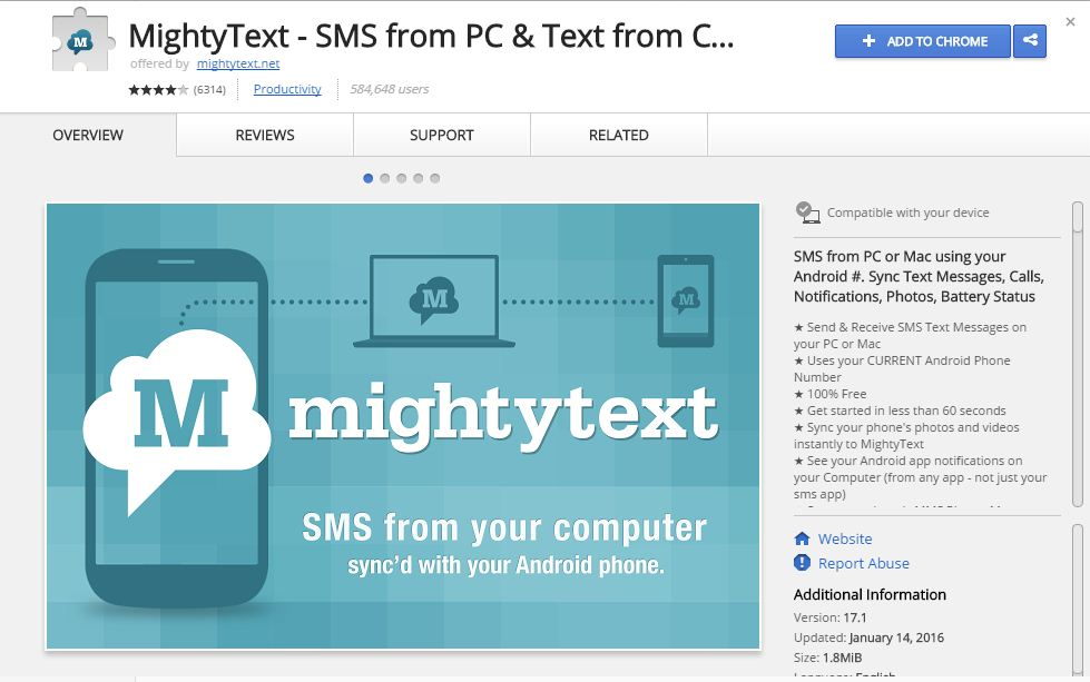 Add Mighty Text extension to Chrome