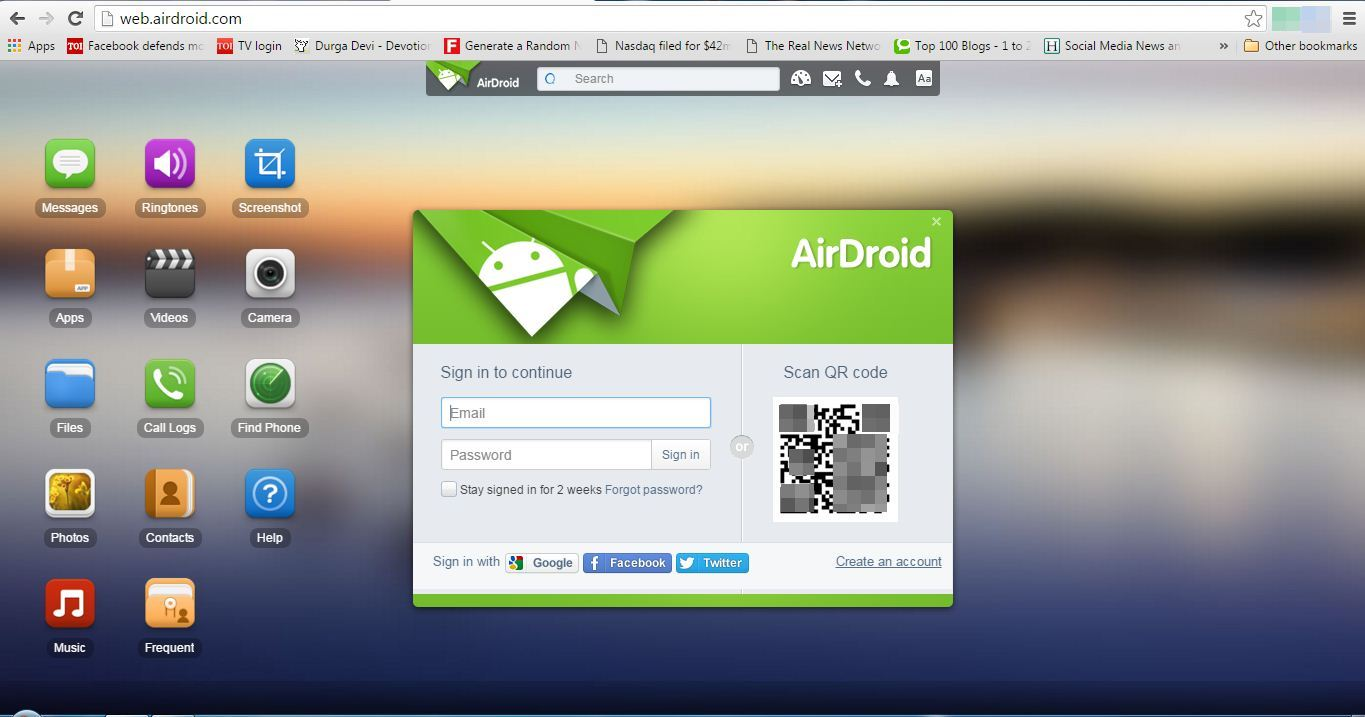 head to the web.airdroid.com