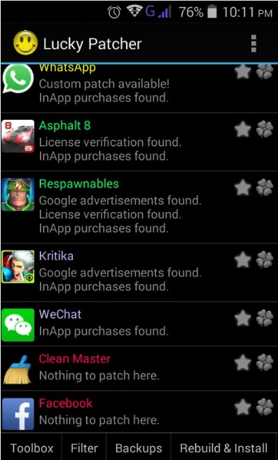 List of apps on lucky patcher 8.7.1