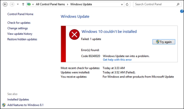 How To Fix the 80240020 Windows 10 Installation Error