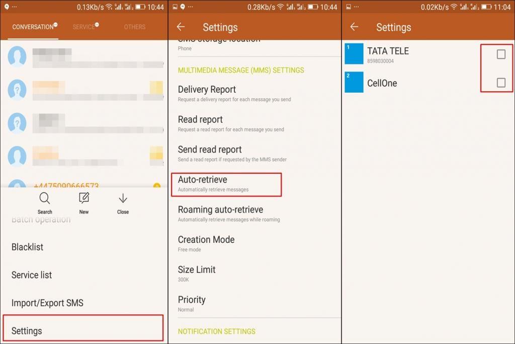 Uncheck Auto-retrieve MMS In Default Messaging App