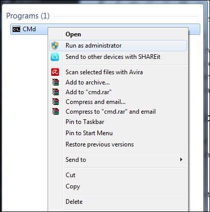 Remover vírus de computador usando prompt de comando