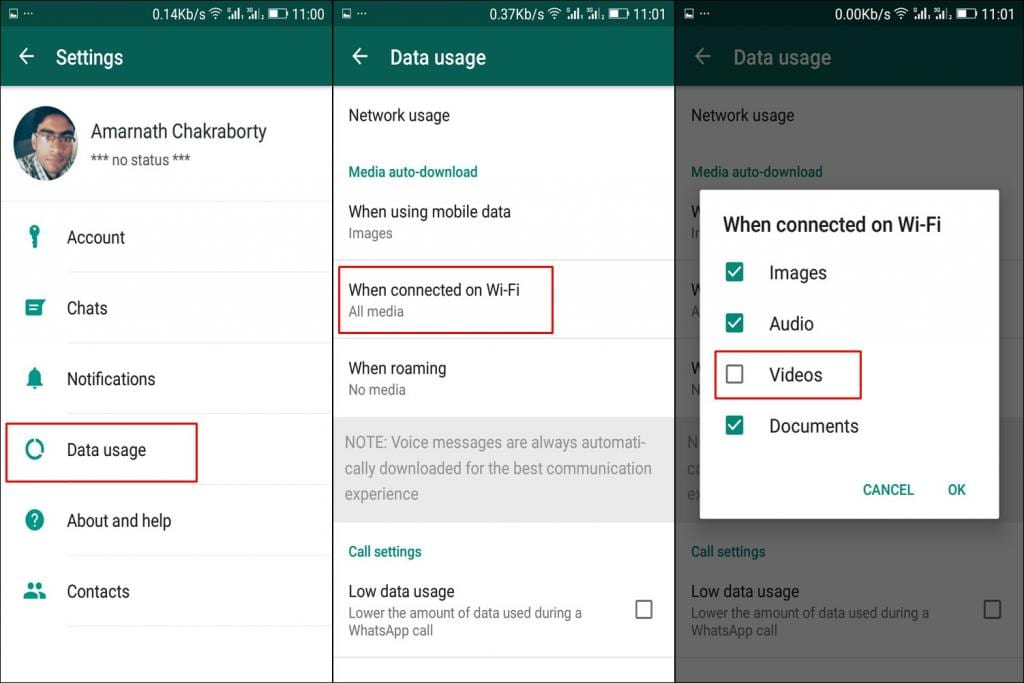 Disable auto-download videos in WhatsApp