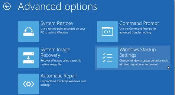 Winbows 10 With Enabled Recovery option