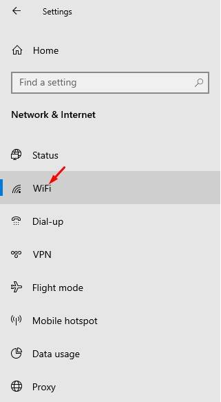 click on the 'WiFi' button