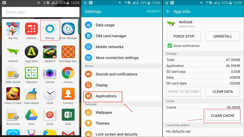Manually Clearing Apps Cache