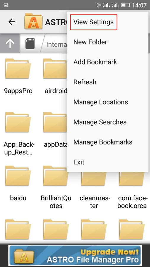 Using Astro File Manager