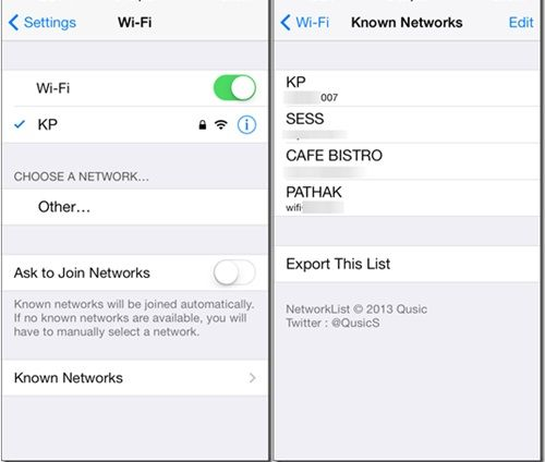 saved wifi password ios