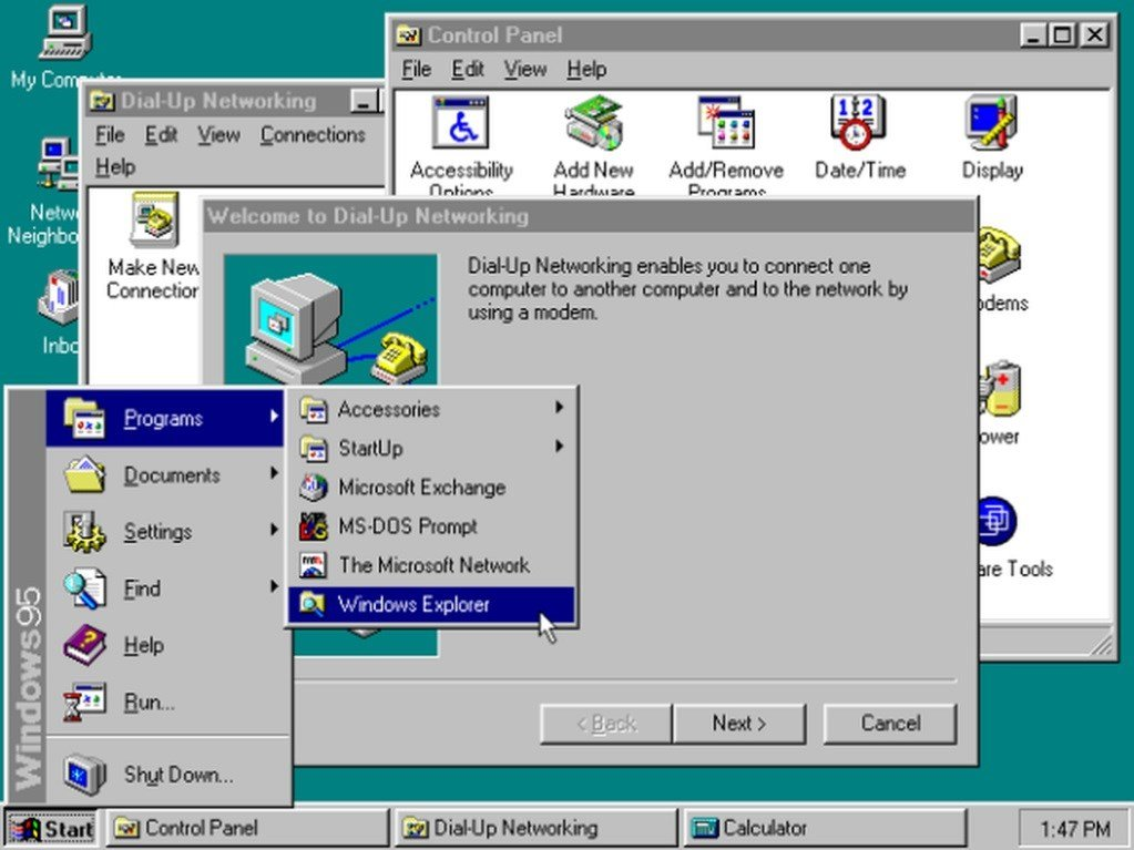 30 Years of Windows in 13 Different Versions - Windows 95 (1995)