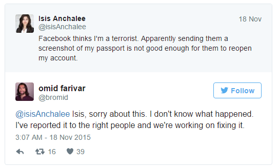 Facebook Disable Accounts Name Included ISIS