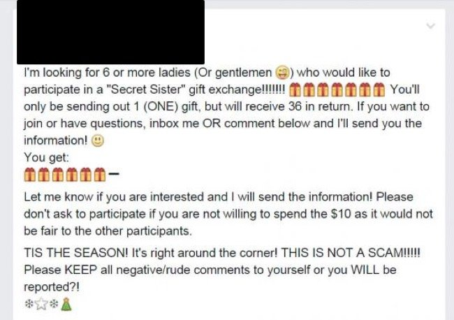 Facebook Scam Alert 'Secret Sister Gift Exchange'