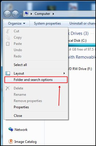 "Select ""Folder and search option."""