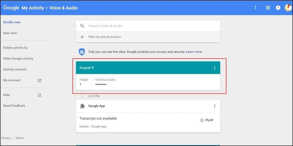 View and Delete all Google Now Voice History