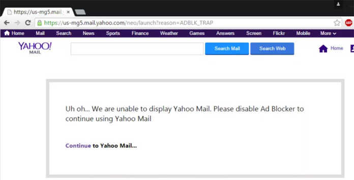 Yahoo Blocking Its Users if They Use Ad Blockers