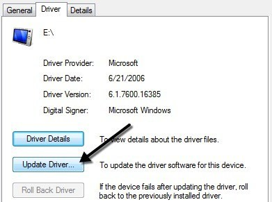 Double click on the Unknown Device and click on 'Update driver'