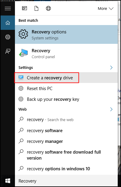 Open 'Create a recovery drive' option