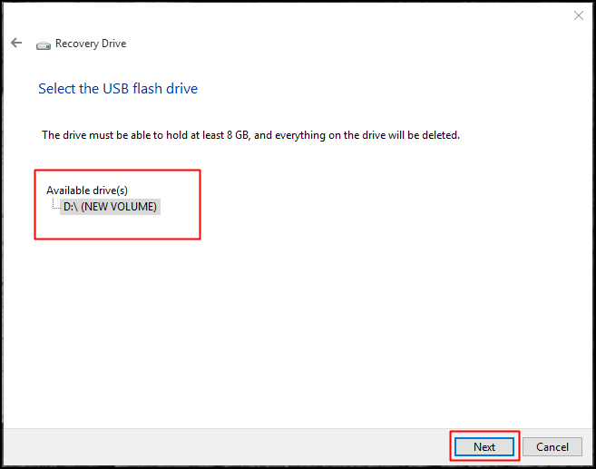 Select the USB Flash drive and click on 'Next'