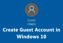 Create a Guest Account in Windows 10