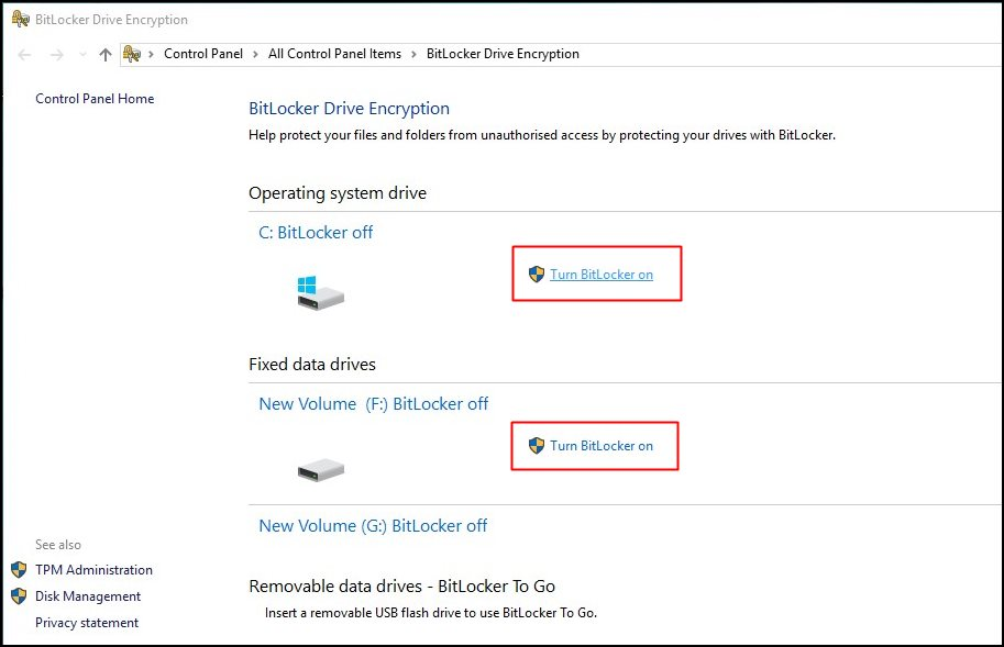 Enable Full Disk Encryption in Windows 10