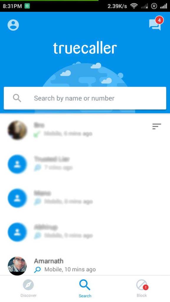 True Caller via HP Android