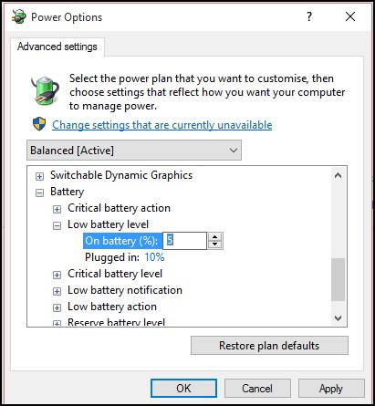 Setting Up Hibernate & Low Battery Options