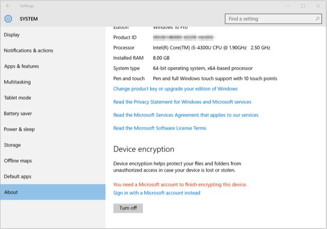 Windows 10 Device Encryption