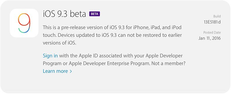 Apple Releases its New Version of iOS 9.3 Beta For Developers