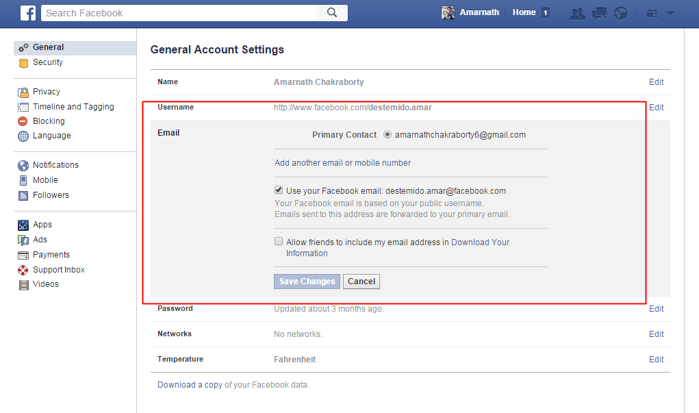 how to find email address from facebook account