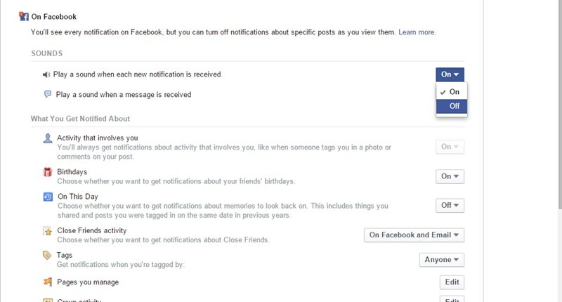 Silent All the Notifications And Message Sound In Your Facebook Profile