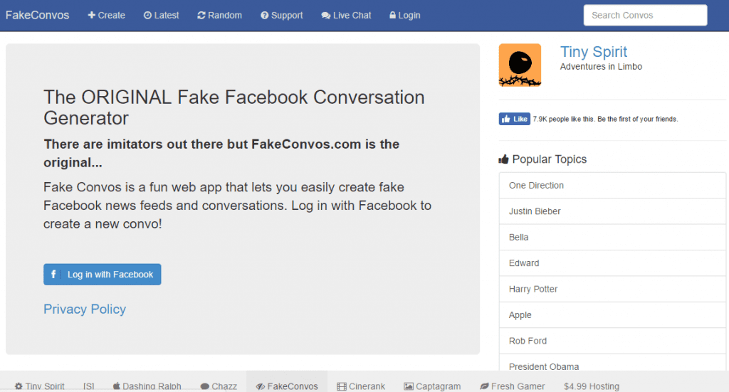 Creating Fake Facebook Conversation Online