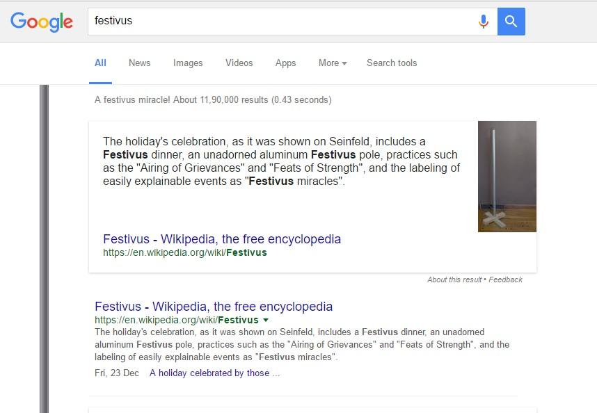 Type Festivus in Google