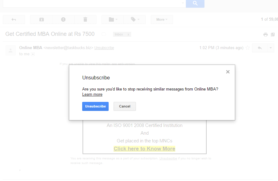 Unsubscribe Using GMAIL's Default Option