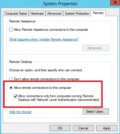 Enable the Allow remote connections to this computer
