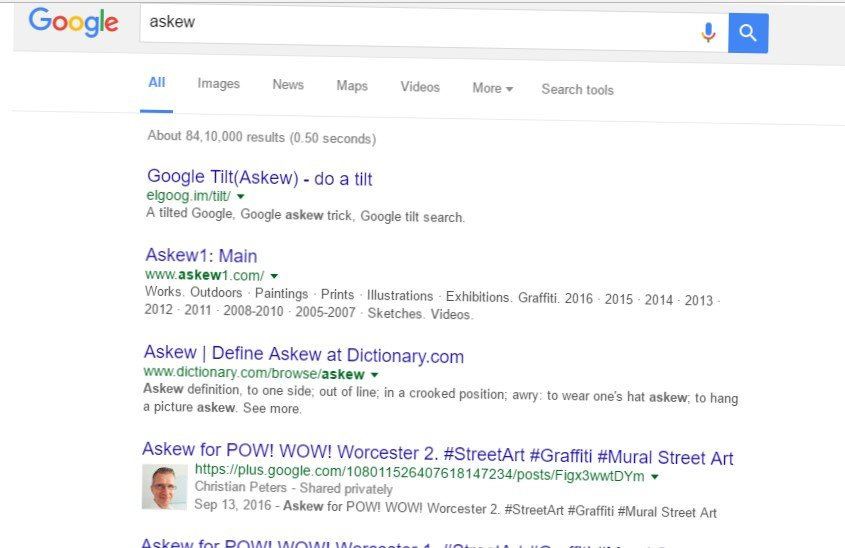Type Askew in Google