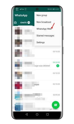 Select 'WhatsApp Web'