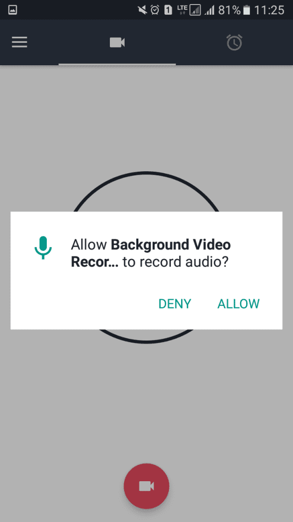 Tap on the 'Record' button and grant the permissions