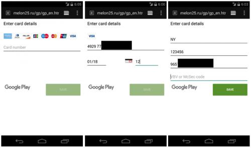 Sahte Google Play ödeme sayfaları.  (Resim Palo Alto)