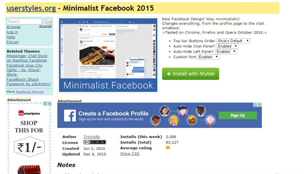 Change Facebook Theme Using Chrome Extension