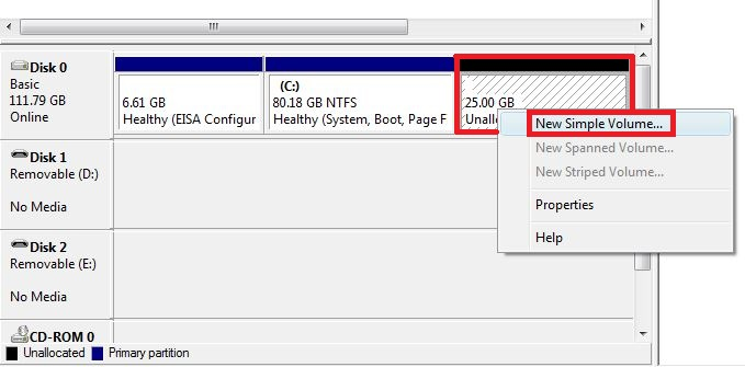 Right click on the Unallocated space and select 'New Simple Volume'
